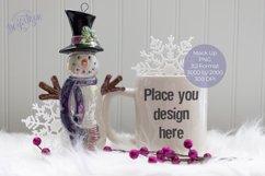 Christmas Winter Snowman White Mug Mock Up Product Image 1