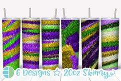 Skinny Tumbler Sublimation Design - Mardi Gras Glitter Product Image 1