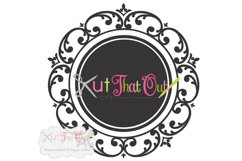 Scallop Scroll Monogram Font Frame SVG & DXF Cut File Product Image 1