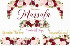 Watercolor Marsala and Blush Bundle for Weddings Product Image 2