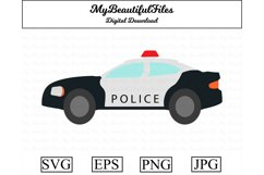 Police Car SVG - Cartoon Police SVG, EPS, PNG and JPG Product Image 1