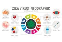 Zika virus infographic, flat style Product Image 1