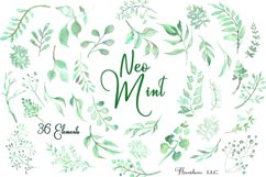 Watercolor Greenery Clipart in Neo Mint, Botanical Elements Product Image 1