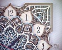 C16 - Laser Cut Wall Clock DXF, Mandala Clock, Wooden Clock Product Image 5