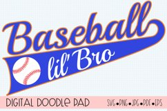Baseball lil'Bro SVG | Silhouette and Cricut Cut File Product Image 1