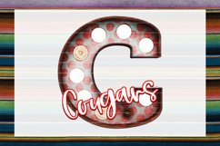 Cougars Red & Blue Marquee Sublimation PNG Product Image 1
