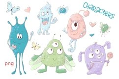 Clipart Cartoon Cute Monsters Product Image 3