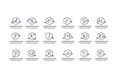 Group of Handwriting Hexagon Letter Logo Product Image 1