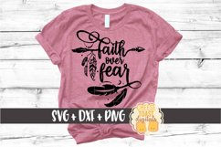 Faith Over Fear - Boho Arrow Feathers SVG PNG DXF Cut Files Product Image 1