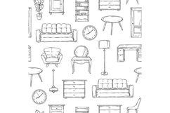 Sketch furniture pattern. Living room doodle vintage interio Product Image 1