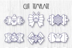 6 Hair bow template SVG, Christmas faux leather bow template Product Image 8