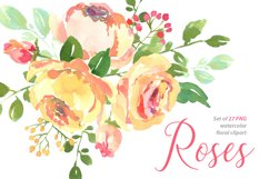 Yellow pink watercolour roses PNG set Product Image 1