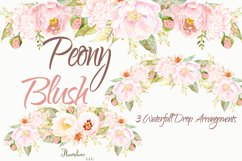 Watercolor Peony Blush Clipart Bundle Product Image 4