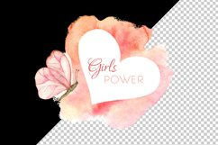Breast cancer sublimation design. Watercolor girls power art Product Image 3