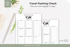 Travel Packing List Template   A4- PDF Printable Product Image 1