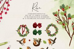 Christmas Robin Clipart and seamless patterned paper tiles Product Image 3