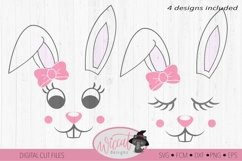 Easter Bunny face svg, Girl bunny face svg, cut file Product Image 1