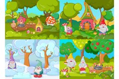 Gnome garden banner concept set, cartoon style Product Image 1