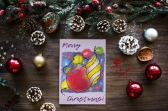 Christmas card template. Xmas card design with baubles Product Image 2