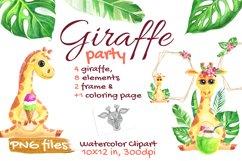 Cute Giraffe Watercolor Tropical Safari, African, Jungle Product Image 1