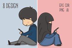 Muslim Hijab Character Vector Illustration Product Image 1
