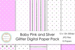 Baby Pink and Silver Glitter Digital Paper Pack Product Image 1