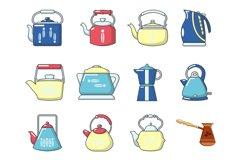 Kettle icon set, cartoon style Product Image 1
