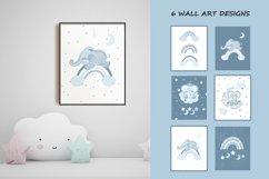 Sleeping blue elephant clipart, nursery print for boys Product Image 6