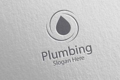 Plumbing Logo with Water and Fix Home Concept 41 Product Image 3