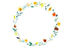 Yellow watercolor meadow wildflowers wreath clipart graphics Product Image 2