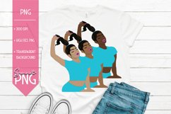 Black Woman Clipart With Ponytail Hair Blue Sublimation PNG Product Image 1