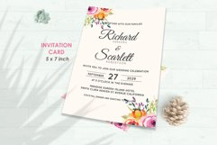 Wedding Invitation Set #5 Watercolor Floral Flower Style Product Image 2
