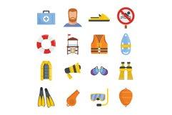 Lifeguard save icons set, flat style Product Image 1