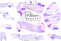 Purple Watercolor Banner Ribbon Clipart | Drawberry CP095 Product Image 1