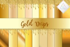 Gold Drips Digital Paper Product Image 1