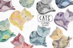 Watercolor Cat Clipart. Set of 10 png digital clipart Product Image 1