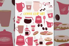 Coffee break clipart set, pink coffee pot, donuts Product Image 1