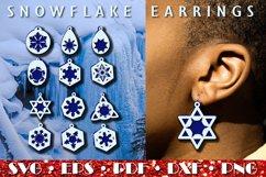 Christmas earrings SVG, Snowflake Earrings Product Image 5