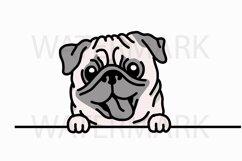 Peeping Pug saying hello - SVG/JPG/PNG Hand Drawing Product Image 1