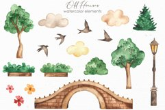 Old houses watercolor clipart Product Image 4