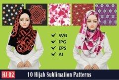 HJ 02, 10 Hijab Sublimation Patterns Product Image 1