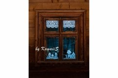 Vintage brown wooden window Antique building exterior detail Product Image 1