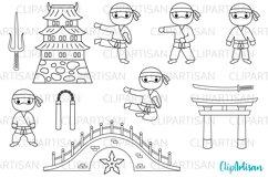 Ninja Clipart, Cute Ninjas Digital Stamps Product Image 1