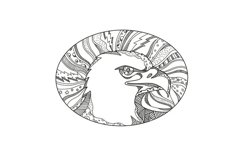 Bald Eagle Head Doodle Art Product Image 1