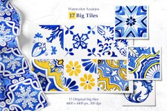 Portuguese Azulejos. Watercolor Patterns and Tiles. Product Image 3