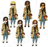 Leopard Print Divas Clipart, Fashion Girls Illustrations, PN Product Image 3