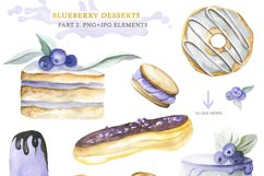 Watercolor collection of Blueberry Desserts Product Image 3