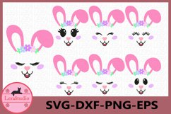 Bunny Easter SVG, Bunny Face Clipart, Bunny Shirt, Bunny Cut Product Image 1