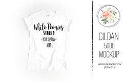 White GILDAN 5000 Shirt Mockup Product Image 1