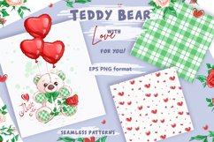 White Teddy Bear for Valentine's Day. Clipart and patterns. Product Image 2